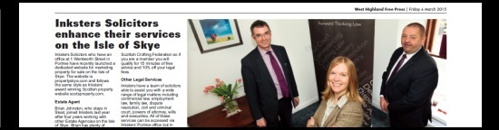 West Highland Free Press Feature on Inksters Solicitors